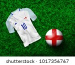 top view of soccer ball in... | Shutterstock .eps vector #1017356767