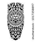leg tattoo with sun maori style    Shutterstock .eps vector #1017358897