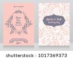 two wedding cards with  twigs... | Shutterstock .eps vector #1017369373