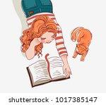 cute girl reads a book | Shutterstock .eps vector #1017385147