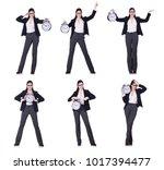 businesswoman with clock in... | Shutterstock . vector #1017394477