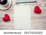 coffee cup notepad pencil and... | Shutterstock . vector #1017410203