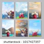 vector travel brochure layout... | Shutterstock .eps vector #1017427357