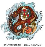dragon koi fish with water... | Shutterstock .eps vector #1017436423