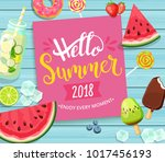 hello summer 2018 card with... | Shutterstock .eps vector #1017456193