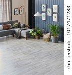 modern living room blue details ... | Shutterstock . vector #1017471283