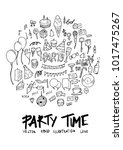 black line party doodle... | Shutterstock .eps vector #1017475267