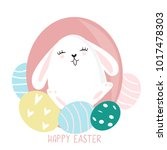 cute and colorful happy easter... | Shutterstock .eps vector #1017478303