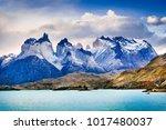 torres del paine  chile. autumn ... | Shutterstock . vector #1017480037