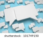 Blank Speech Bubble on Blue Background - stock photo