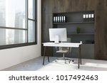 dark wood office workplace... | Shutterstock . vector #1017492463