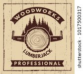 Retro poster with monochrome symbols of sawmill and woodcutter. Wood timber work, nature industry woodwork, vector illustration