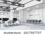 loft office interior with a... | Shutterstock . vector #1017507757