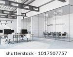 loft office interior with a... | Shutterstock . vector #1017507757