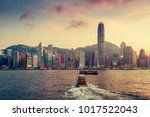 scenic skyline of hong kong... | Shutterstock . vector #1017522043