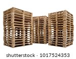 stacks of wooden pallets for... | Shutterstock . vector #1017524353