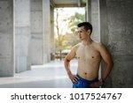 sportman in boxer standing near ... | Shutterstock . vector #1017524767