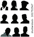 set of silhouettes of heads 2 ... | Shutterstock .eps vector #101752567
