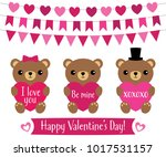 cute teddy bears for valentines ... | Shutterstock .eps vector #1017531157