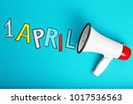 "phrase ""1 april"" and megaphone... 