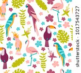 seamless pattern with macaw ... | Shutterstock .eps vector #1017543727
