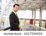 portrait young businessman... | Shutterstock . vector #1017554533