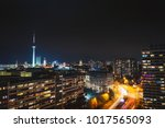 night skyline of eastern berlin.... | Shutterstock . vector #1017565093