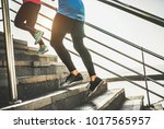 view of runners legs training... | Shutterstock . vector #1017565957