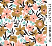 Stock vector trendy seamless floral ditsy pattern fabric design with simple flowers vector cute repeated 1017576823