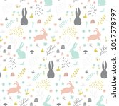 childish seamless pattern with... | Shutterstock .eps vector #1017578797