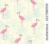 seamless flamingo pattern... | Shutterstock .eps vector #1017580933
