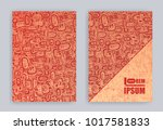 set of covers with hand drawn... | Shutterstock .eps vector #1017581833