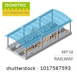 3d isometric train station and... | Shutterstock .eps vector #1017587593