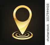 golden marker location icon.... | Shutterstock .eps vector #1017594433