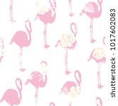 seamless flamingo pattern... | Shutterstock . vector #1017602083