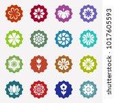 flower icons set on white... | Shutterstock .eps vector #1017605593
