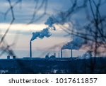 smoke from pipes in the plant...   Shutterstock . vector #1017611857