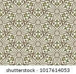 seamless beige and green floral ... | Shutterstock .eps vector #1017614053
