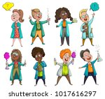 children scientists set.... | Shutterstock .eps vector #1017616297