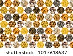 pattern of nuts coconut cashew... | Shutterstock . vector #1017618637