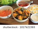 salad bar with vegetable for... | Shutterstock . vector #1017621583