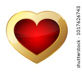 golden heart icon. vector... | Shutterstock .eps vector #1017626743
