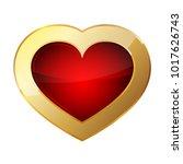 golden heart icon. vector...   Shutterstock .eps vector #1017626743