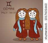 gemini zodiac sign female twins ... | Shutterstock .eps vector #1017631663