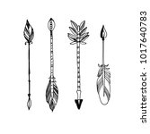 decorative tribal arrows... | Shutterstock . vector #1017640783