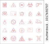 warning and hazard icons set... | Shutterstock .eps vector #1017650707