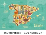 traditional symbols of spain in ... | Shutterstock .eps vector #1017658327