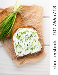 bowl of cream cheese with green ...   Shutterstock . vector #1017665713