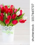 fresh red tulip flowers bouquet ...   Shutterstock . vector #1017665737