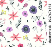 hand drawn flower background... | Shutterstock . vector #1017676993